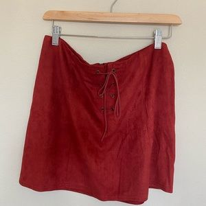 Skirts - Red suede skirt